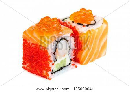 Uramaki maki sushi, two rolls isolated on white. Salmon with philadelphia, shrimp, avocado, ikura and tobico