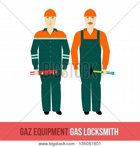 Vector flat icon locksmiths gas with the tools. Web design, booklets, brochures, advertisements, manuals, technical descriptions. Isolated on a white background.