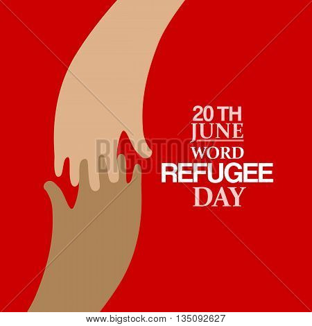Stylish Two hands flat emblem and text for World Refugee Day. Vector illustration. Human rights, support and refugee day logo. Migrant safety concept.