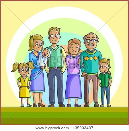 Big Happy Cartoon Family. Parents with Children. Father mother, children with grandpa and grandma. Kids with parents and grandparents.