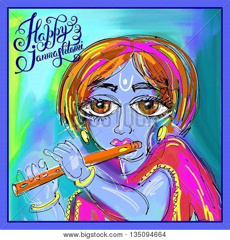 happy krishna janmashtami digital painting poster for indian traditional festival, vector illustration poster