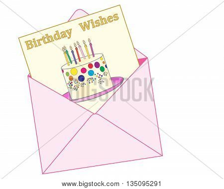 an illustration of a pink envelope with a birthday greeting card showing a colorful celebration cake and the words birthday wishes on a white background