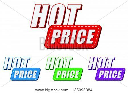 hot price, four colors labels, flat design, business shopping concept, vector