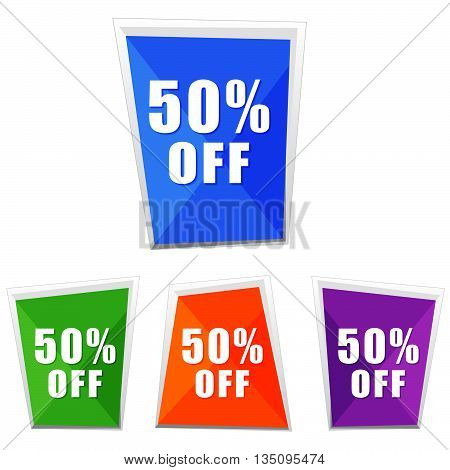 50 percentages off, four colors labels, flat design, business shopping concept, vector