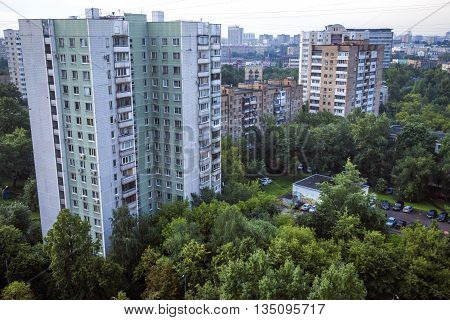 Aerial photography of Moscow city in VDNH region Russia