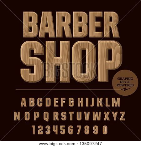 Vector set of alphabet letters, numbers and punctuation symbols. Wood emblem with text Barber shop