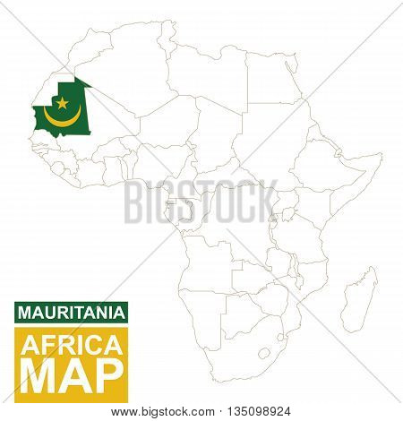 Africa Contoured Map With Highlighted Mauritania.