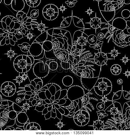 Graphic moon with succulent design among stars and glowing butterflies. Abstract fantasy art. Vector seamless pattern