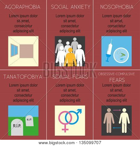 Poster with the title and description of phobias. Various phobias. Flat design