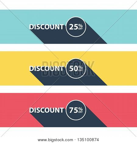 Set of discount banners. Business concept with text discount and long shadow. Discount tags. Special offer. Sale sign. Vector illustration.