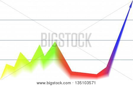 colored arrow graph down and goes up on a white background with a grid