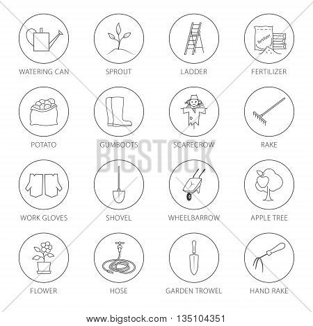 Set Of Garden Tools Round Thin Line Icons Gardening Equipment And Name Agricultural Tool