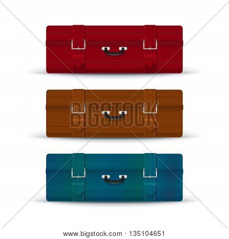 Three Colored Suitcases, Retro Suitcases Isolated on White, a Luggage Bag for Traveling, Vintage Travel Bag, Vector Illustration