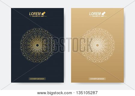 Modern vector template for brochure, Leaflet, flyer, cover, magazine or annual report. A4 size. Business, science, medicine and technology design book layout. Abstract presentation with golden mandala