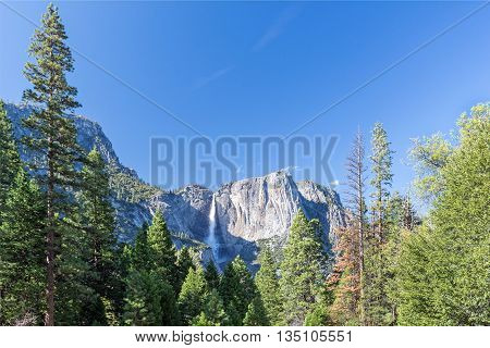 spring landscape of Yosemite valley with waterfall