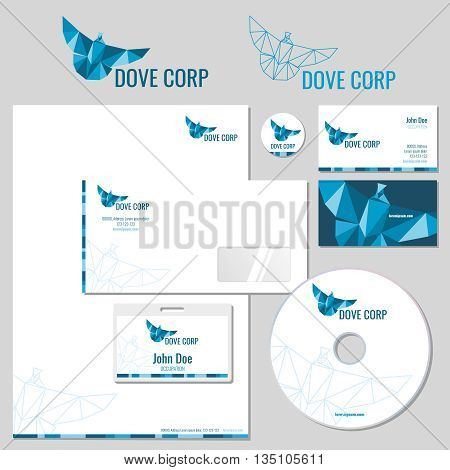 Vector stationery template desig with origami pigeon logo. Corporate identity. Dove corporate, business card with dove logo, branding dove corporate illustration