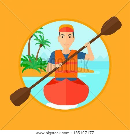 Sportsman riding in a kayak in the sea. Young man traveling by kayak. Male kayaker paddling. Man paddling a canoe. Vector flat design illustration in the circle isolated on background.