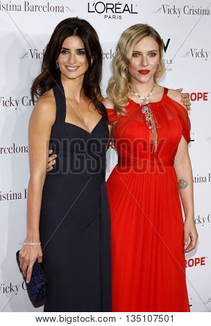 Scarlett Johansson and Penelope Cruz at the Los Angeles premiere of 'Vicky Cristina Barcelona' held at the Mann Village Theater in Westwood, USA on August 8, 2008.