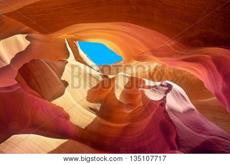 beautiful colors of the stone in a crevice of antelope canyon