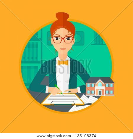 Female real estate agent signing a contract. Real estate agent sitting at workplace in office with a house model on the table. Vector flat design illustration in the circle isolated on background.