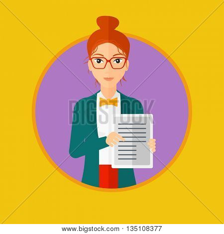Woman holding tablet computer with text on a screen. Business woman with tablet computer in hands. Woman showing tablet computer. Vector flat design illustration in the circle isolated on background.