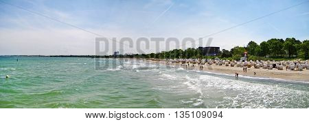 Beach Panorama In Timmendorfer Strand, Baltic Sea, Germany