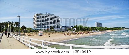 Beach Panorama In Timmendorfer Strand, Baltic Sea, Germany