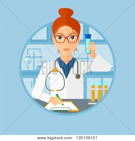 Laboratory assistant making medical test and taking some notes. Young laboratory assistant working with a test tube at the lab. Vector flat design illustration in the circle isolated on background.
