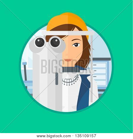 Woman during an eye examination. Woman visiting optometrist. Woman undergoing medical examination at the oculist. Vector flat design illustration in the circle isolated on background.