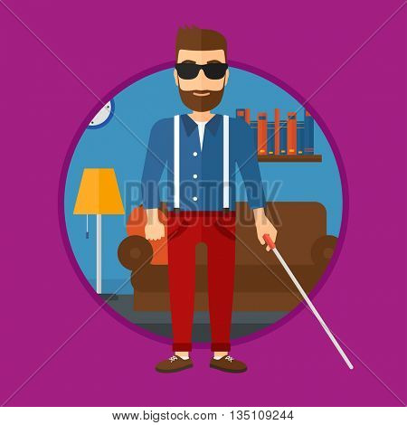 A blind hipster man with the beard standing with walking stick. Young man in dark glasses with cane standing in the living room. Vector flat design illustration in the circle isolated on background.