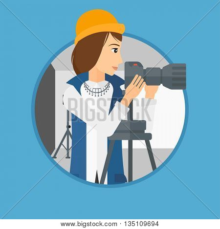 Photographer working with camera on a tripod in photo studio. Woman taking photo with professional digital camera in the studio. Vector flat design illustration in the circle isolated on background.