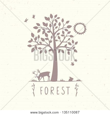 silhouette of beautiful tree and deer. vector illustration