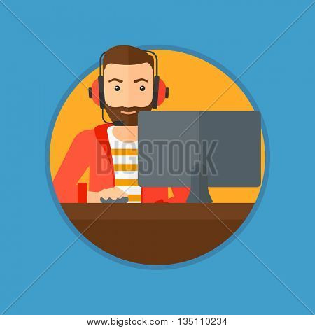 Hipster man with the beard playing computer game. Gamer in headphones playing online games. Gamer using computer for playing game. Vector flat design illustration in the circle isolated on background.