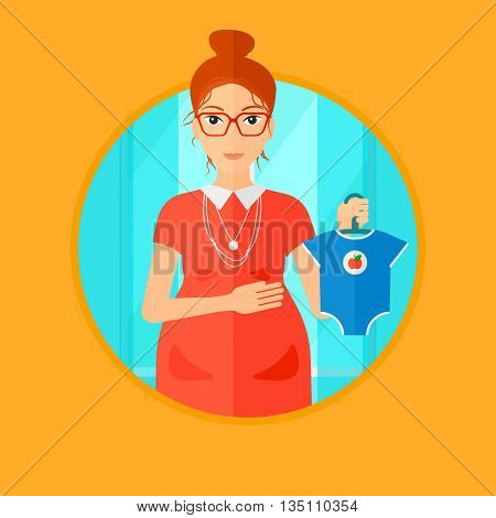 Pregnant woman holding clothes for her baby. Pregnant woman with bodysuit for baby. Pregnant woman with presents at baby shower. Vector flat design illustration in the circle isolated on background.