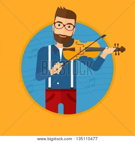 Hipster man playing violin. Violinist playing classical music on violin. Man with violin on a blue background with music notes. Vector flat design illustration in the circle isolated on background.
