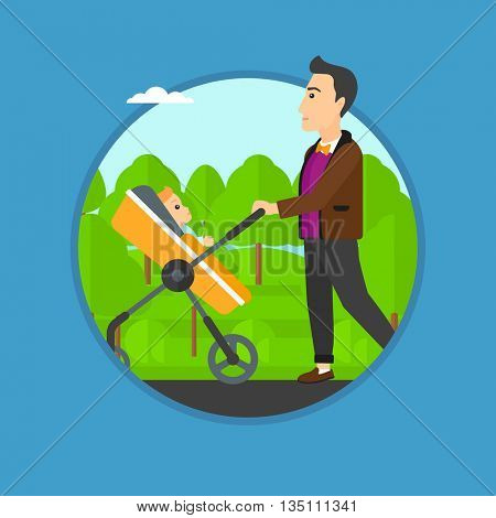 Young father walking with baby stroller in the park. Father walking with his baby in stroller. Father pushing baby stroller. Vector flat design illustration in the circle isolated on background.