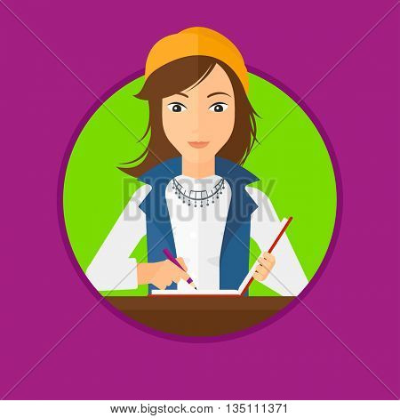 Journalist sitting at the table and writing in notebook with pencil. Journalist writing notes with pencil. Journalist at work. Vector flat design illustration in the circle isolated on background.