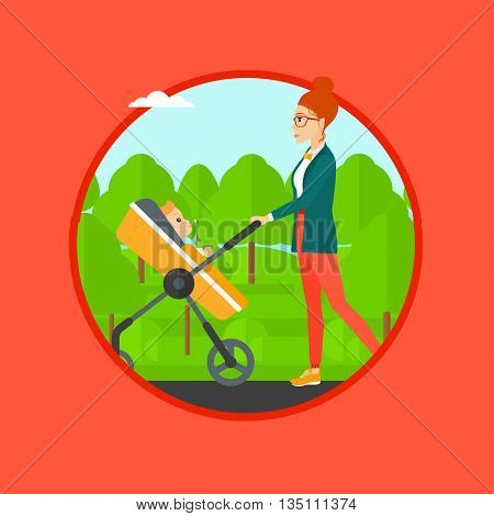 Young mother walking with baby stroller in the park. Mother walking with her baby in stroller. Mother pushing baby stroller. Vector flat design illustration in the circle isolated on background.