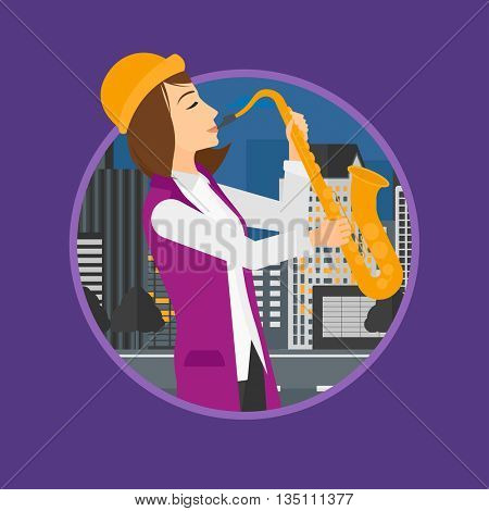 Musician playing on saxophone. Woman playing on saxophone in the night. Young woman with saxophone in the city street. Vector flat design illustration in the circle isolated on background.