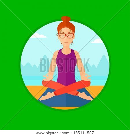 Young woman meditating in yoga lotus pose outdoor. Woman relaxing in the yoga lotus position. Woman doing yoga on nature. Vector flat design illustration in the circle isolated on background.