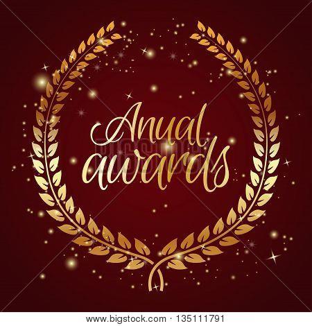 Anual award with laurel wreath. Vector illustration
