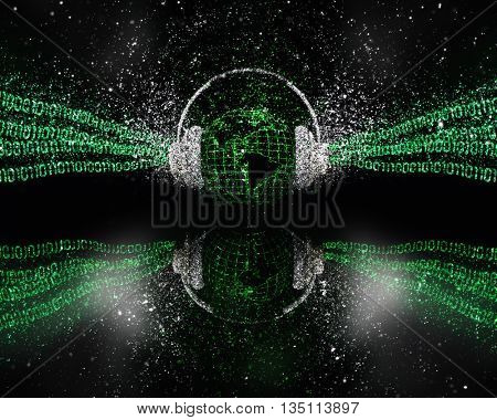 3D render of a digital global music concept with glitter effect