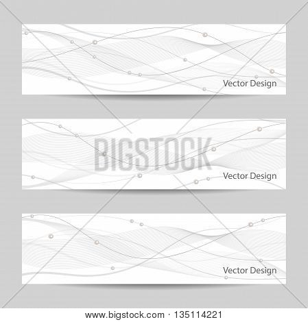Set of horizontal banners with gray stripes, veil and pearls on white background for use in your designt.