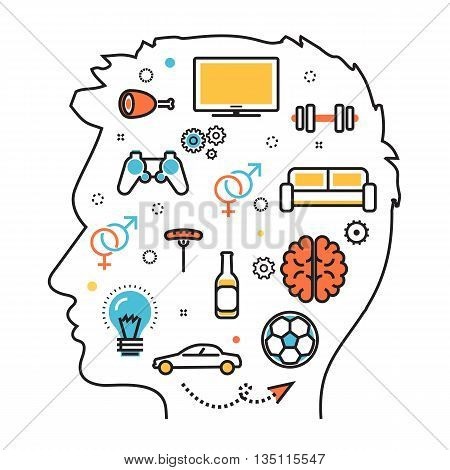 Flat line illustration of thought process what men wanted dream idea desire wish habits stereotypes into man head man favorite interests. Website blog banner infographic elements