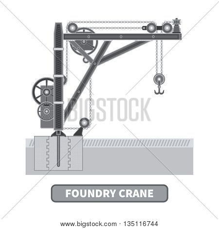 Vector foundry crane in flat style. Isolated on white.