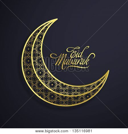 Golden Ornamental Crescent Moon on grey background for Islamic Holy Festival, Eid Mubarak celebration.