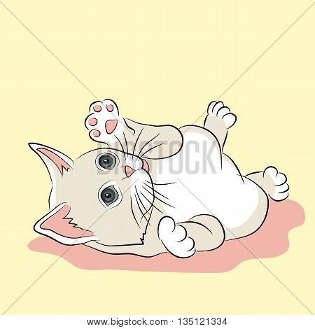 pink white kitten realistic vector illustration yellow background