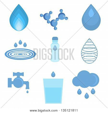 Water related icons set. Set of abstract water icons and water faucet, glass water, water drop, water molecule. Abstract shape aqua environment. Water liquid nature drink design ecology bottle.