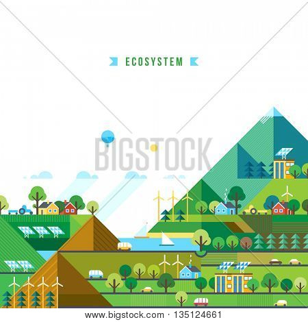 Green energy, urban landscape, ecology. flat design vector concept illustration. Mountain landscape
