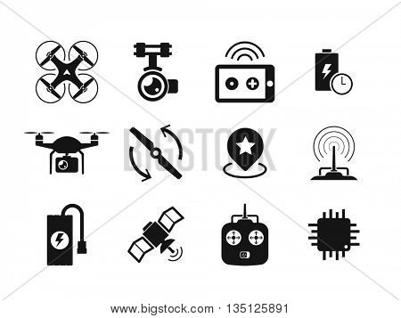 Quadcopter and flying drone icons on white background.